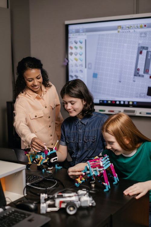 Team of strong women building engineering projects together